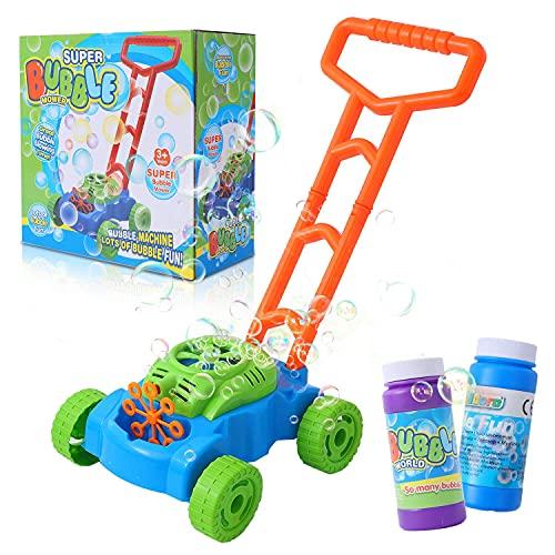 Herefun Tosaerba Bubble per Bambini, Tagliaerba Giocattolo da Bambino, Gioco di Giardinaggio con Automatici Bubble Lawn Machine, Giocattoli da Esterno per Bambini (Verde)