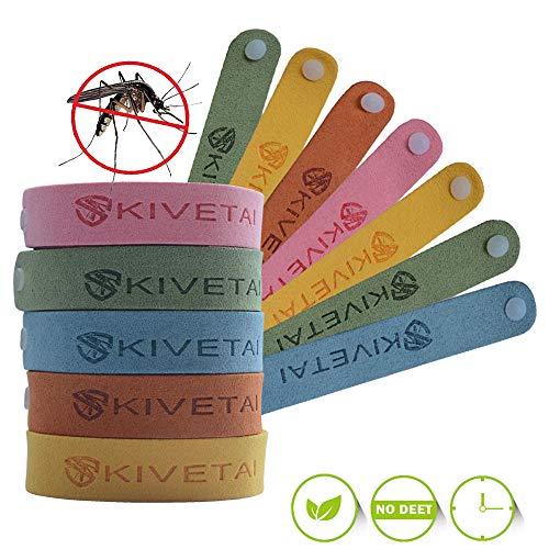 KIVETAI Pulsera Repelente de Mosquitos -12 Paquetes 100% Naturales Pulseras Antimosquitos Bandas Repelentes de Insectos Pulseras de Biaje Repelente no Tóxico para Niños y Adultos