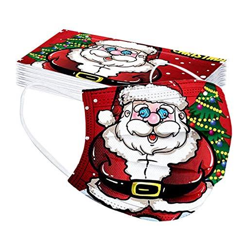 10 20 50 Stücke Weihnachtsmuster Mundschutz Einweg 3 lagig Mund-Nasen-Schutz Mundbedeckung, Reindeer Muster Festlicher Bandana Halstuch Schals für Damen Männer Outdoor Anti-Staub