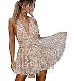 LATH.PIN - Vestido de mujer sexy con lentejuelas, diseño de camuflaje, espalda descubierta, vestido de cóctel rosa claro M