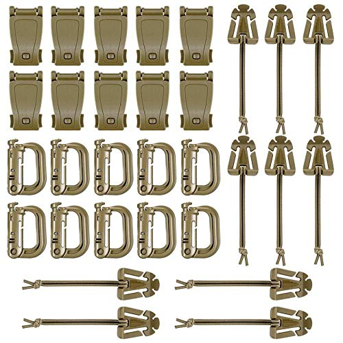BOOSTEADY Kit of 30 Attachments for Molle Bag Tactical Backpack Vest Belt,D-Ring Grimlock Locking Gear Clip, Web Dominator Elastic Strings, Strap Management Tool Buckle