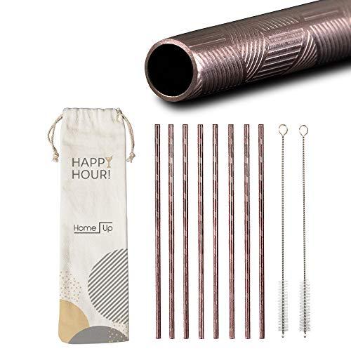 HomeUp Premium Design Roségold Edelstahl Strohhalme - Set 8X Gerade, Wiederverwendbare Trinkhalme und 2 Reinigungsbürsten - Spülmaschinenfest - Rosegold Reusable Metal Steel Straws (215 x 6mm)