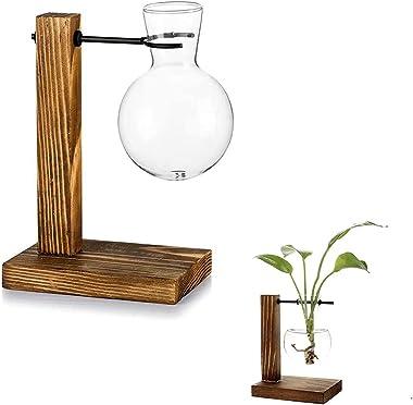 Jarrones de Bombilla de Cristal, con Soporte Hidropónico, Florero de Vidrio, Florero Vintage de Madera, Vidrio de Madera Retr