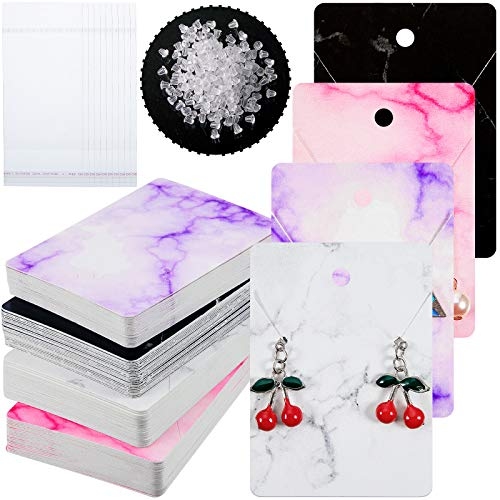 800 Pieces Marble Design Earring Card Display Holder Set, Include 200 Marble Display Card in 4 Color 200 Self-Seal Bags 400 Earring Backs for Jewelry Display Packing (White, Black, Pink, Purple)