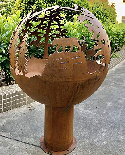 N / A Large Fire Pit, Rusty Style Corten Steel Brazier Heater, Multifunctional Camping Bowl BBQ, For Indoor Outdoor Garden Patio Grill (Size : 100cm)