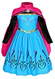 HenzWorld Princess Costume Coronation Girls Dresses Party Queen Birthday Cosplay Dress Up Outfit Cape Patchwork Long Sleeve Blue Winter