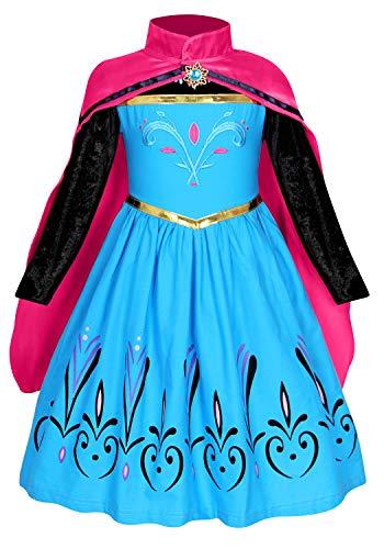 AmzBarley Vestito da Principessa Regina delle Nevi Costume Bambina Ragazza Abito Carnevale Cosplay Festa di Compleanno Halloween Partito Vestiti Abiti con Capo