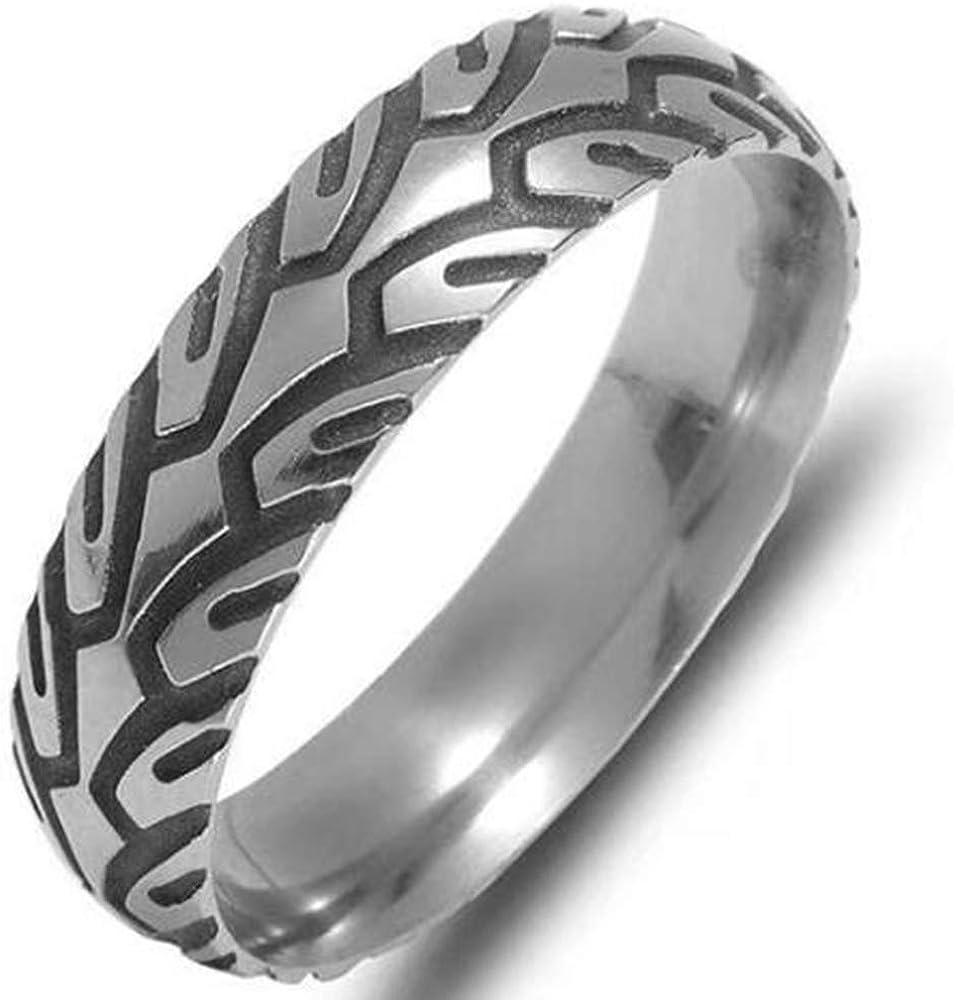 6mm Stainless Steel Wheel Tire Pattern Wedding Band Biker Ring