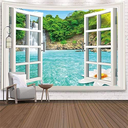 Imitation Window Landscape Tapisserie Wandbehang Tropical Tree Tapisserien Kunst Home Decoration Meer Sonnenaufgang Wohnheim A9 200CM x 150CM