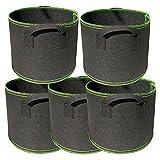 N/K 5 piezas 25 galones / 100 l bolsa de cultivo de plantas, resistente engrosada, maceta no tejida con asa, bolsa de plantación de verduras de jardín, maceta de tela