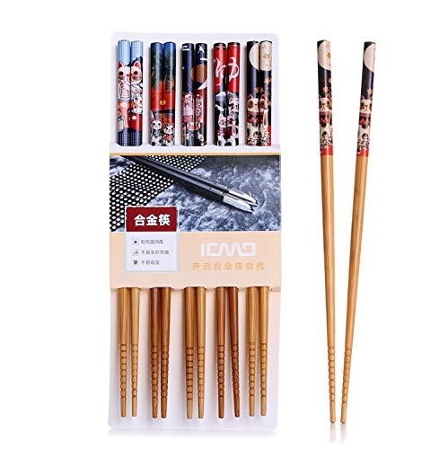 Palillos, 5 par palillos de alta calidad restaurante chino japonés palillos Set...