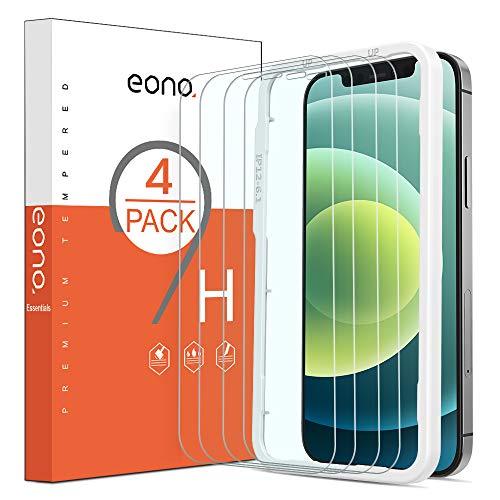 Amazon Brand- Eono - Protector de pantalla de cristal blindado compatible con iPhone 12 y iPhone 12 Pro (6,1 pulgadas), con plantilla, 9H, antiarañazos, antiburbujas, funda compatible con 4 unidades