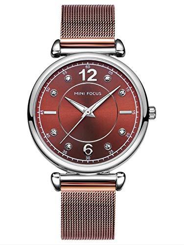 Mira de Las señoras Moda Impermeable Malla de Malla de Metal Diamante Reloj Luminoso Brown