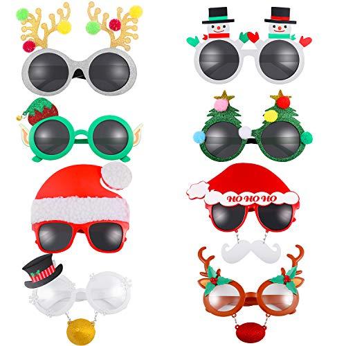 8 Paar Neuheit Weihnachten Brille Kostüm Party Brillen Weihnachten Urlaub Zubehör für Weihnachten Halloween Erntedankfest Party