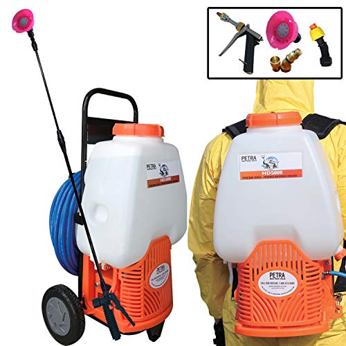Petra Powered Backpack Sprayer with Custom Fitted Cart and 100 Foot Commercial Hose, 2 Hoses...