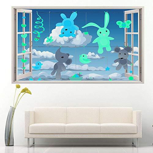Oso tendedero bebé pegatinas de pared dormitorio 3D pegatinas de vinilo para habitación de niños