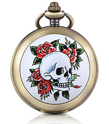 Unendlich U Totenkopf Schädel Rose Foto Medaillon Handaufzug Mechanische Taschenuhr Weißes Zifferblatt Skelettuhr Pullover Halskette, beide Ketten