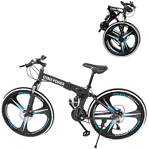 Folding Mountain Bike 26 Inch 21 Speed Outroad Bike Dual Disc Brakes Full Suspension Non-Slip MTB 6 Spoke Foldable Bicycle High Carbon Steel Road Bicycle City Commuters for Adults Teens Men Women