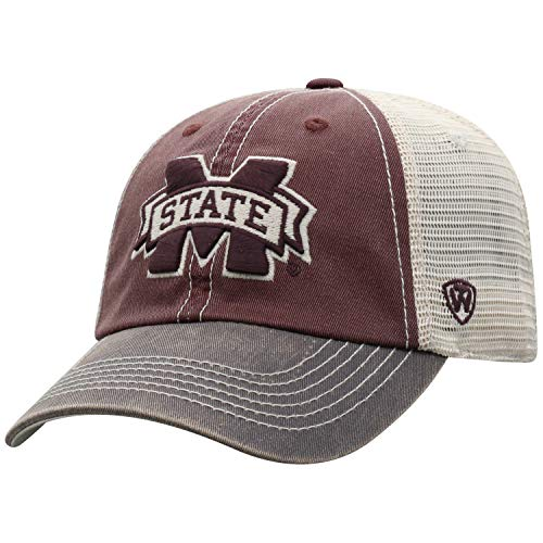 Top of the World Men's Relaxed Fit Adjustable Mesh Offroad Hat Team Color Icon, Mississippi State Bulldogs Maroon, One Size