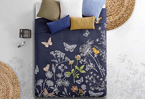Colcha de Jacquard para cama de matrimonio con mariposas y flores, azul.