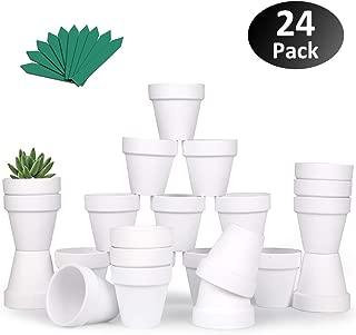 "GROWNEER 24-Pack 2.5"" White Mini Clay Pots Terracotta Pot with 25 Pcs Plant Labels, Ceramic Pottery Planter Cactus Succulent Nursery Pots, for Indoor Outdoor Plants, Crafts, DIY, Wedding Favor"
