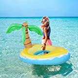 CLISPEED 4ft Inflatable Pool Floaty,Coconut Tree Pool Raft with 2 Fast Inflate Values Repair Patches Ride On Pool Float Swim Ring Summer Beach Water Toys for Kids Adults-Passed SGS Testing