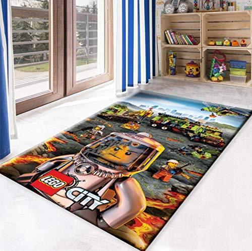 Haiqings Alfombra Antideslizante de Lego City, Alfombra para Adolescentes, Alfombra de Noche para Dormitorio, Alfombrillas para Gatear para niños, Alfombra para decoración del hogar, 140x200cm