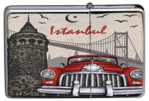 LEotiE SINCE 2004 Chrom Sturm Feuerzeug Benzinfeuerzeug aus Metall Aufladbar Winddicht für Küche Grill Zigaretten Kerzen Bedruckt Retro Metropole Istanbul
