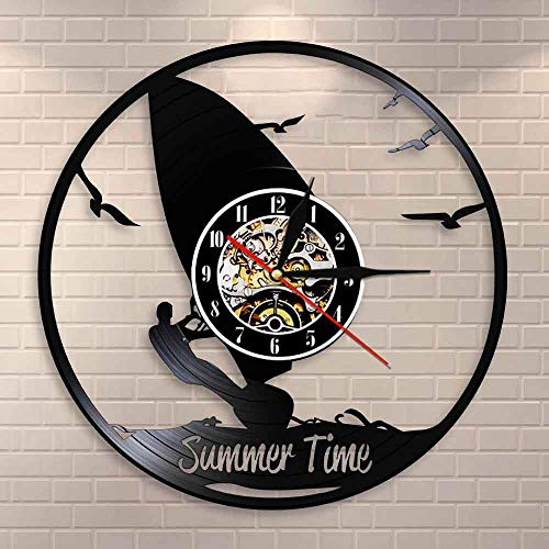 QIANGTOU Reloj de Tiempo de Verano, decoración de Pared para Windsurf, Reloj de Pared para Sala de Deportes, Reloj de Vinilo para windsurfistas, Regalo para Amantes de los Deporte