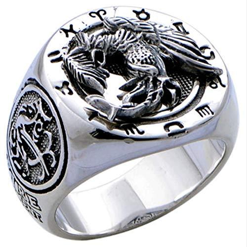 XIRENZHANG Anillo de plata de ley 925 con diseño de fénix y bestia, anillo de plata para hombre, 24 #