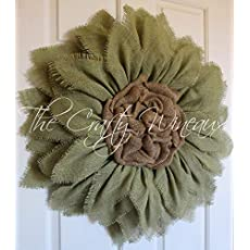 """The Crafty Wineaux Small 12/"""" Rich Red Burlap Sunflower Wreath"""