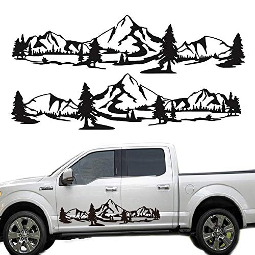 Mountain Car Decal 1 Set Car Graphics Side Vinyl Sticker Decals for Cars/Ford/SUV/Jeep Wrangler, Universal Full Body Scratch Hidden Car Decals (Black)