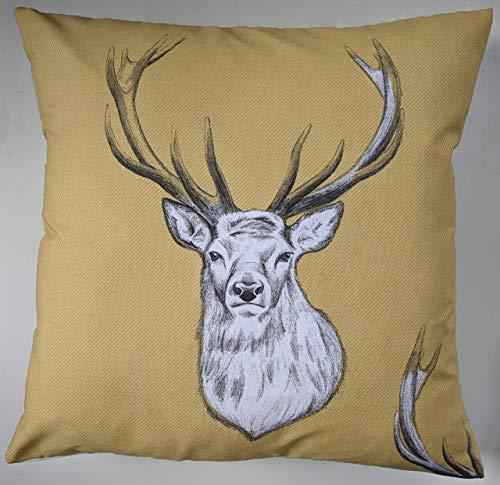 Cushion Cover in Ochre Yellow Tartan Stag 16'