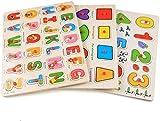 XCJJ 56 PCS Jigsaw Puzzle de Madera 3 Rompecabezas del Alfabeto/Número/gráfico Set Juguetes educativos for los niños