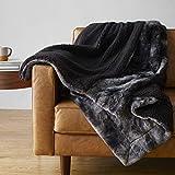 Amazon Basics Fuzzy Faux Fur Sherpa Blanket, Full/Queen, 90'x92' - Black Tie Dye