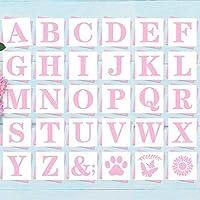 5インチ レターステンシル アルファベットアートクラフトステンシル - 再利用可能なマイラー文字テンプレート アートクラフトライティング ペイントなどに 30個セット