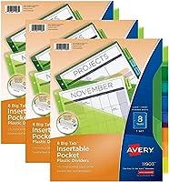 Avery ビッグ タブ 挿入可能 プラスチック 仕切り ポケット付き 8つのマルチカラータブ 3セットパック (11903)