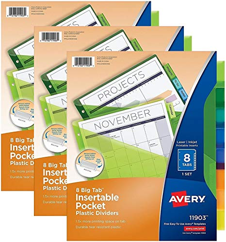 Avery Big Tab Insertable Plastic Dividers with Pockets, 8 Multicolor Tabs, Pack of 3 Sets (11903)