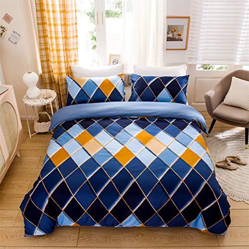 GHL.YTE Geometric Pattern Duvet Cover Set Polyester 3PCS Quilt Twin/Full/Queen/King Size Bedding Set Bed Linen Comforter Set Blue 200x200cm 3PCS