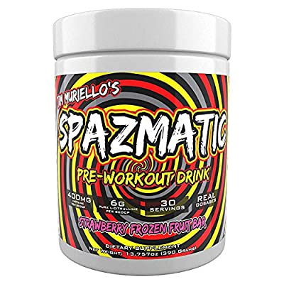 Tim Muriello's Spazmatic Preworkout (Strawberry) - 400mgs Caffeine - 6 Grams Pure Citrulline for Muscle Pumps- Fast Acting Focus - 30 Full Servings - All-In-1-Scoop Formula