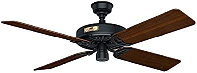 """Hunter Fan Company 23838 Hunter Original Indoor, Outdoor Ceiling Fan with Pull Chain Control, 52"""", Black"""