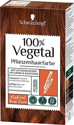 SCHWARZKOPF 100% VEGETAL Coloration, Haarfarbe Kupferrot Stufe 3, 3er Pack (3 x 80 ml)