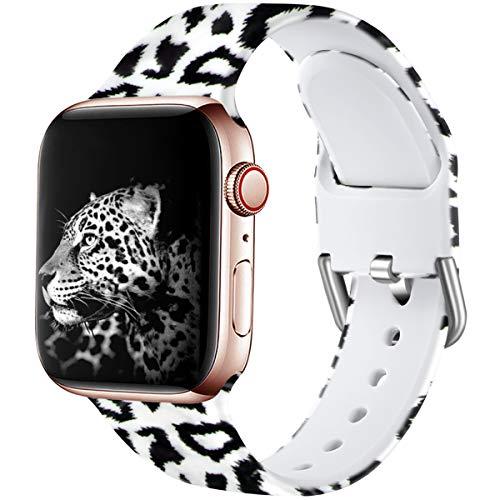 Wepro Kompatibel mit Apple Watch Armband 38mm 40mm, Weiches Silikon Muster Bedruckt Ersatz Armband für iWatch Series 5 4 3 2 1, 38mm/40mm-S/M, Schwarzer Leopard