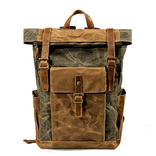 Luxury Vintage Canvas Backpacks for Men Oil Wax Canvas Leather Travel Backpack Large Waterproof Daypacks Retro Bagpack