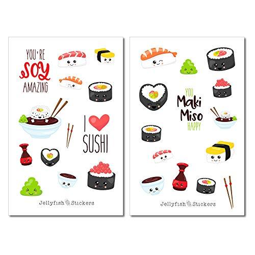 Niedliches Sushi Sticker Set | Aufkleber Bunt | Journal Sticker | Sticker Kawaii | Sticker Essen | Sticker Gesichter | Sticker Essstäbchen