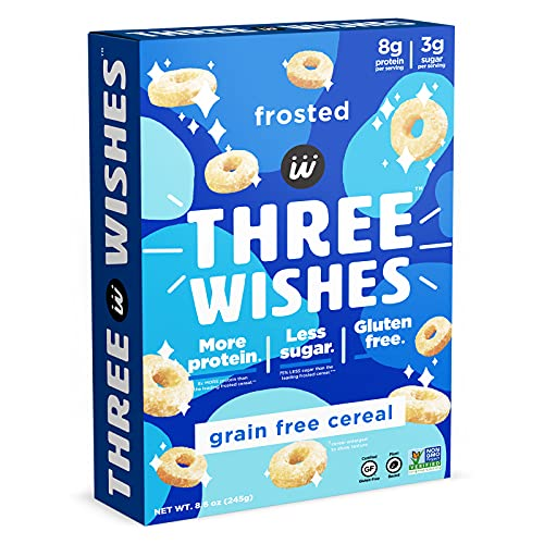 magic spoon flavors Plant-Based and Vegan Breakfast Cereal by Three Wishes - Frosted, 1 Pack - High Protein and Low Sugar Snack - Gluten-Free, Grain-Free, and Dairy-Free - Non-GMO