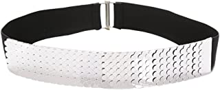 uxcell Women Fish Scale Fashionable Belt Elastic Band Metal Waistband Width 1 3/4 Inches