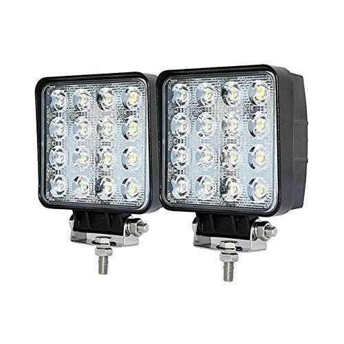 Faros de Trabajo Led,JieHe 48W Luces Trabajo Led Flood Barra Led 4x4 LED Light Bar Montaje de luces de antiniebla IP67 Impermeable para Off-Road, Camión,Coche, ATV, SUV, Barco(2PCS)