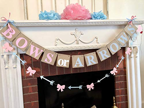 Bows or Arrows Gender Reveal Baby Shower decorations/Boy or Girl Baby Announcement/Rustic Baby Shower Decor/Boots or Bow Sign