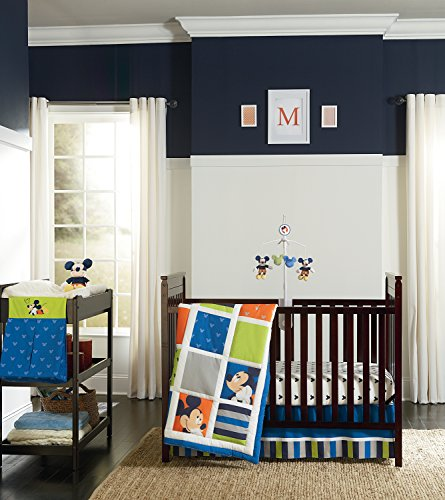 Disney Mickey 4 Piece Crib Bedding Set, Go Mickey Discontinued by Manufacturer